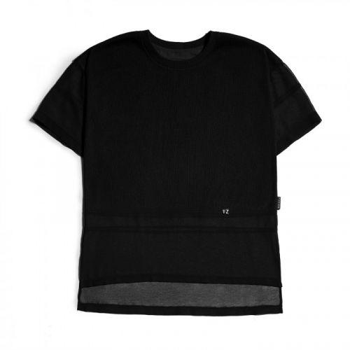 Стильная чёрная футболка с шифоном Ribbed Black T-Shirt от украинского бренда Fusion