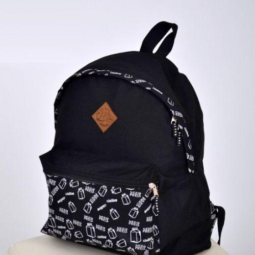 Стильный чёрный городской рюкзак с рисунком-принтом от украинского производителя MILK clothing