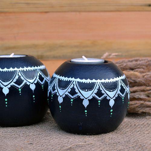 Купить деревянные подсвечники менди мехенди авторская роспись