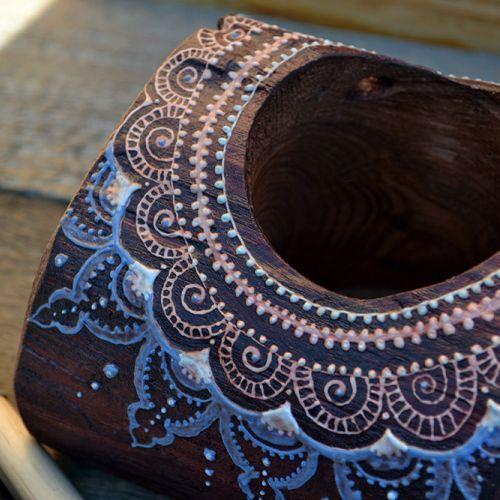 Купить органайзер из дерева с менди мехенди узором ручной работы коричневый