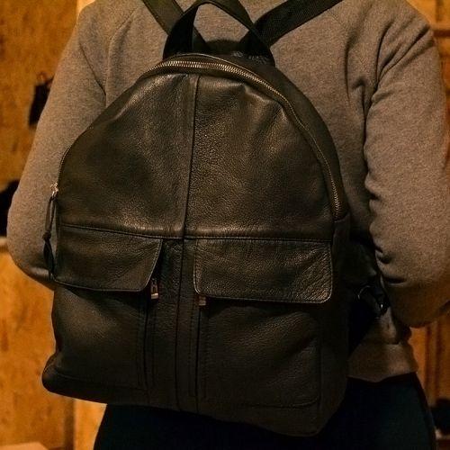 Купить женский кожаный рюкзак ручной работы черный