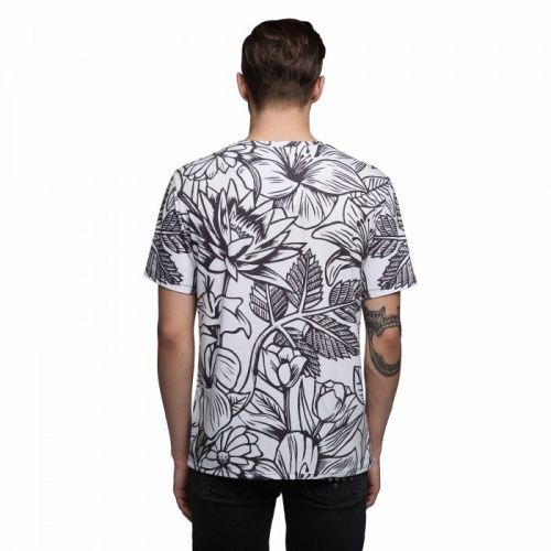 """Черно-белая мужская футболка с рисунком """"FRESH"""" FUSION"""