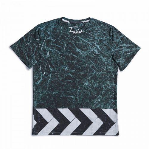"""Зеленая мужская футболка с черно-белым оттенком """"MARMO VERDE"""" FUSION"""