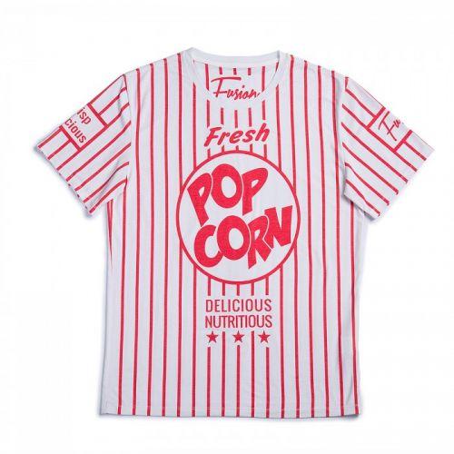"""Красно-белая мужская футболка """"POP CORN"""" FUSION"""