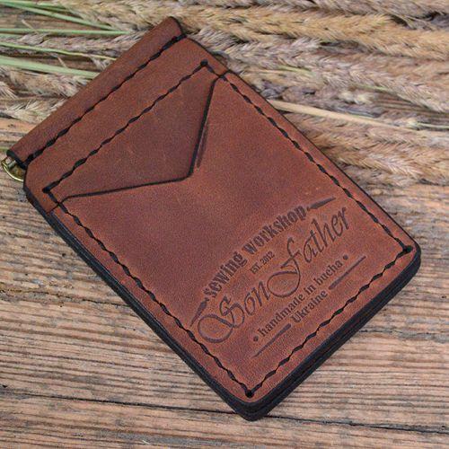 Кожаный мужской коричневый кошелек ручной работы Clip wallet