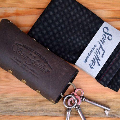 Тёмно-коричневая кожаная ключница  ручной работы Key Case