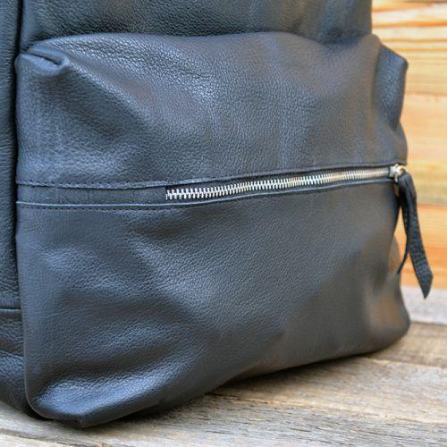 Купить большой кожаный унисекс рюкзак ручной работы, чёрный.