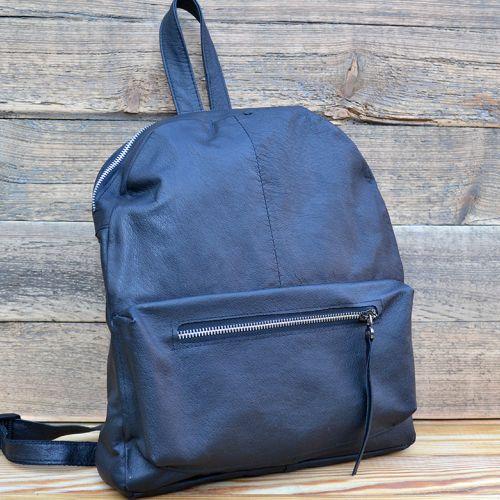Купить кожаный рюкзак ручной работы, чёрный.