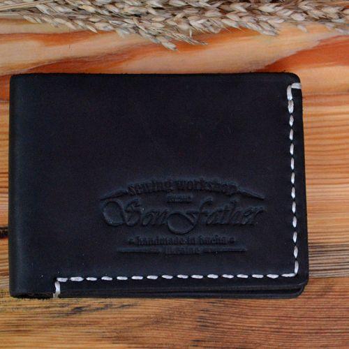 Мужской черный кожаный кошелек ручной работы Classy