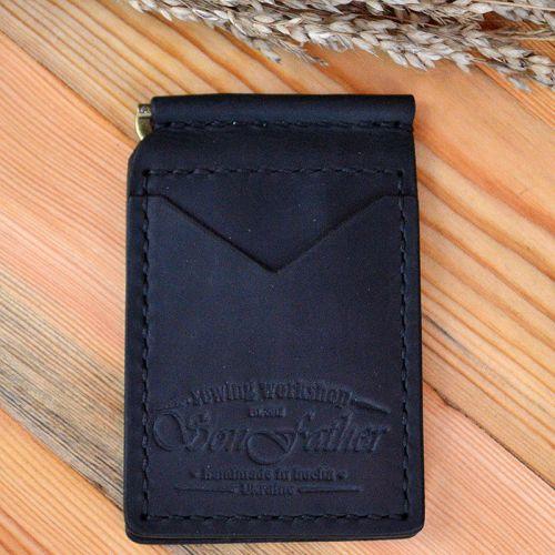 Мужской черный кожаный кошелек ручной работы Clip wallet
