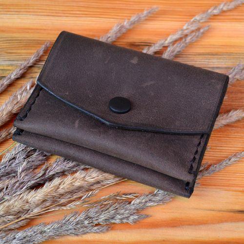 Кожаная коричневая монетница ручной работы