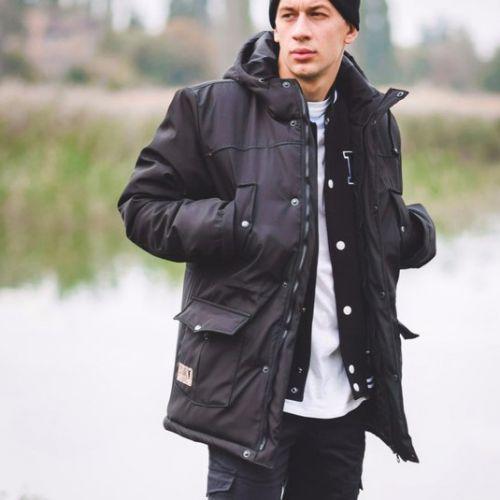Черная мужская теплая куртка для города, молодежный стиль Milk Clothing