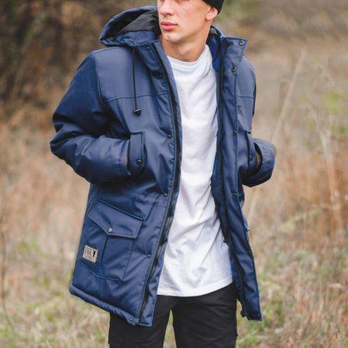 Синяя мужская теплая куртка-парка для города, молодежный стиль Milk Clothing