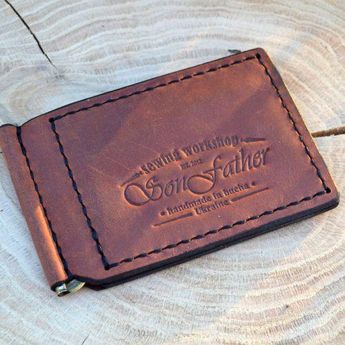 Коричневый кожаный кошелек ручной работы Clip wallet