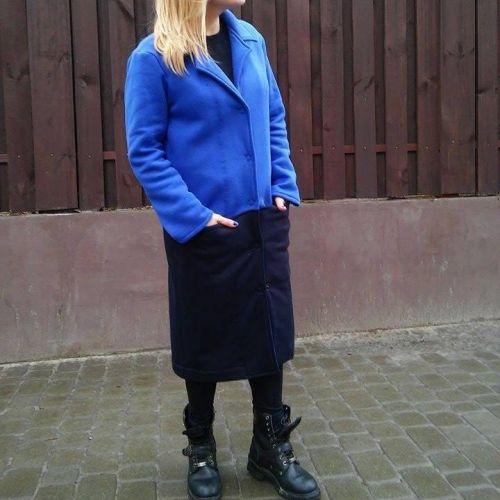 Трикотажное женское пальто из футера с начесом