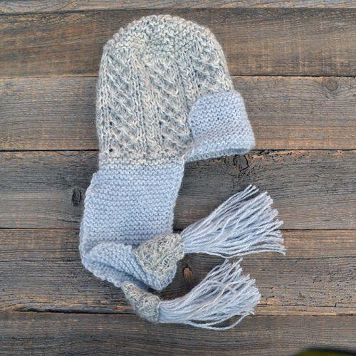 Теплая вязаная женская шапка с ушами ручной работы, серая с голубым SHVZ001