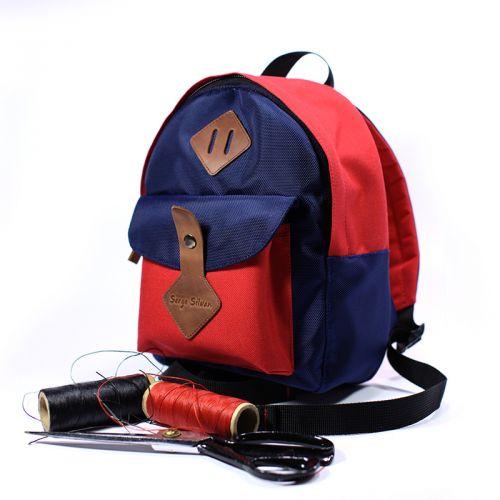 Синий красный детский рюкзак 3-5 лет, ручная работа