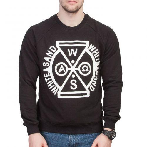 Черный мужской свитшот с принтом WHITE SAND