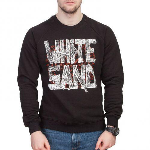 Черный мужской свитшот с надписью WHITE SAND