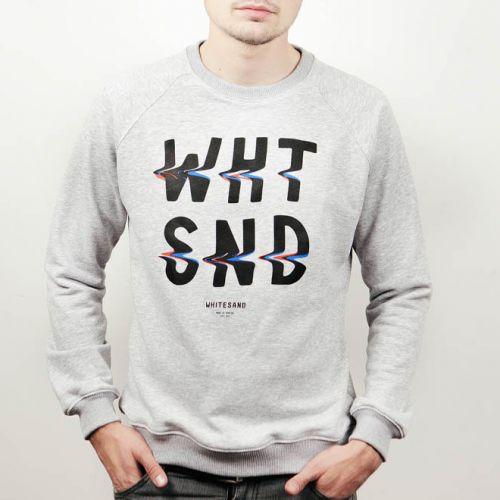 Белый мужской свитшот с принтом WHITE SAND