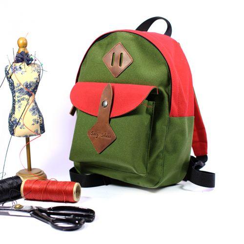 Зелёный красный детский рюкзак 3-5 лет, ручная работа